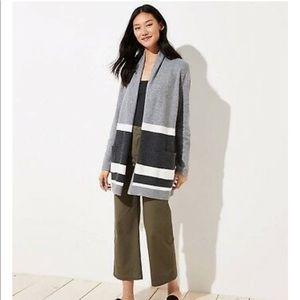 LOFT Striped Shawl Pocket Open Cardigan Sweater